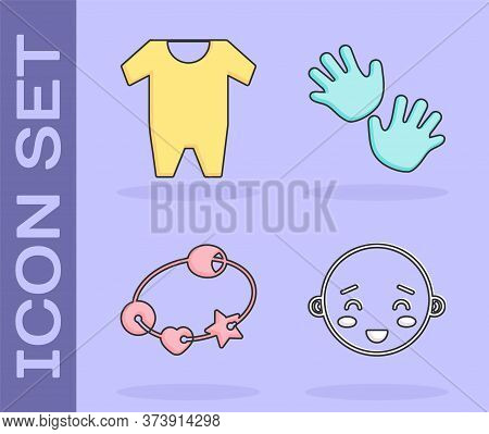 Set Happy Little Boy Head, Baby Clothes, Rattle Baby Toy And Baby Hands Print Icon. Vector