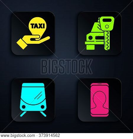 Set Taxi Call Telephone Service, Hand On Map Pointer With Taxi, Tram And Railway And Car Rental. Bla