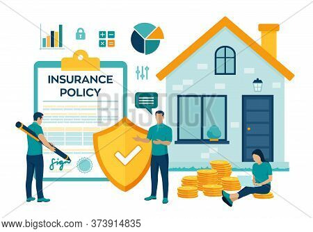 House Insurance Concept. House Insurance Business Services. Residential Home Real Estate Protection.