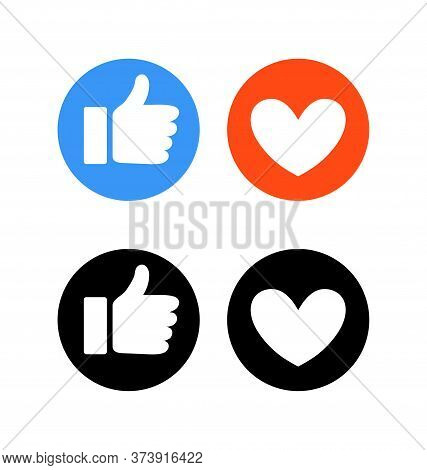 Flat Hand And Heart, Signs Of Reaction In Social Networks. Dislike And Emoticon, Round Blue Symbol T