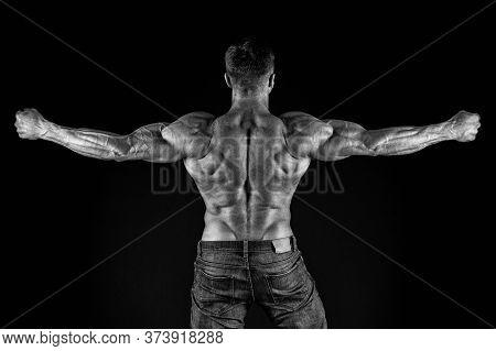 Train Harder. Sportsman Show Muscular Back. Bodybuilder Black Background. Athletic Training. Muscle
