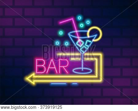 Colorful Neon Bar Signboard With Martini Glass And Arrow Vector Flat Illustration. Bright Glowing Pa