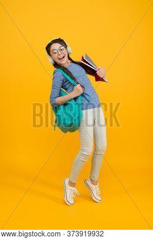 Feel The Impact. Regular School Day. Stylish Schoolgirl. Girl Carry Backpack. Schoolgirl Daily Life.