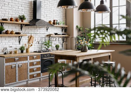 Side View Of Wooden Kitchen With Green Houseplant Decor, New Furniture, Sink, Gas Stove, Built In Ov