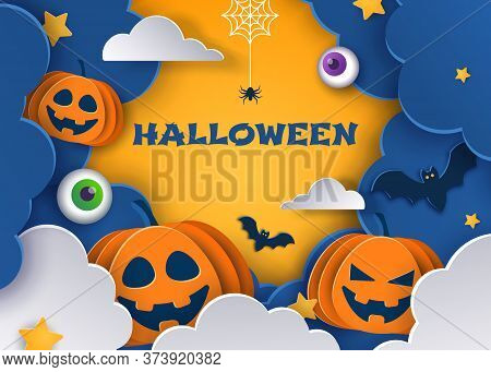 Happy Halloween Halloween classic blue background with pumpkins and bats in paper style, 3D. Happy Halloween banner or party invitation background with clouds