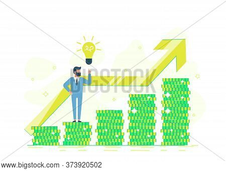 business people.Freelance, a programmer makes money.business people. Office businessman on a pile of coin showing a golden dollar. Business people. Business background. Infographic business arrow shape template design. Business background Credit offer, ba