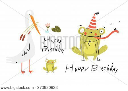 Funny Cute Birthday Card With Baby Frog Wearing Party Hat, White Swamp Bird And Baby Frog. Happy Bir