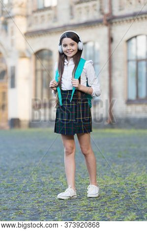 Listening Comprehension. Happy Girl Practice Listening Skills Outdoors. Listening Course. Little Chi