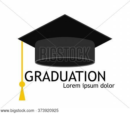Hat Of Graduate. Cap For Student Of University Or School. Icon Of Education And Diploma. Hat With Ta
