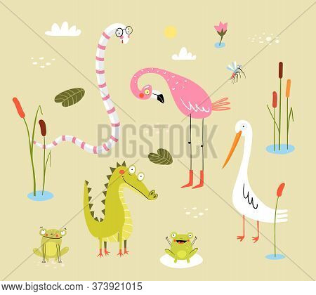 Funny Swamp Animals And Birds, Reptiles And Nature. Pond Living Animals Snake, Crocodile, Frogs, Fla