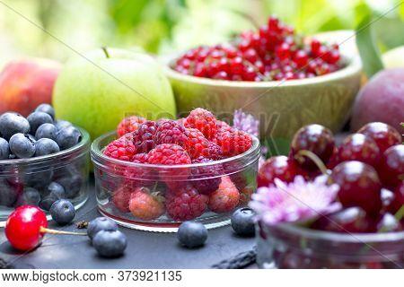 Organic Forest Berries, Healthy Vegetarian Food, Healthy Fresh Fruit On Table
