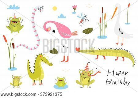 Funny Swamp Animals, Birds, Reptiles And Nature Items Collection. Pond Living Animals Snake, Crocodi
