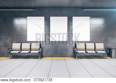 Chairs And Three Blank Posters In Underground Railway Station. Underground And Urban Concept. 3d Ren