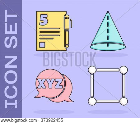 Set Geometric Figure Square, Test Or Exam Sheet And Pen, Xyz Coordinate System And Geometric Figure