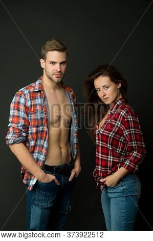 Family Look. Fashion Trend. Fashionable Outfit. Woman And Man Wear Checkered Shirt. Sexy Stylish Cou