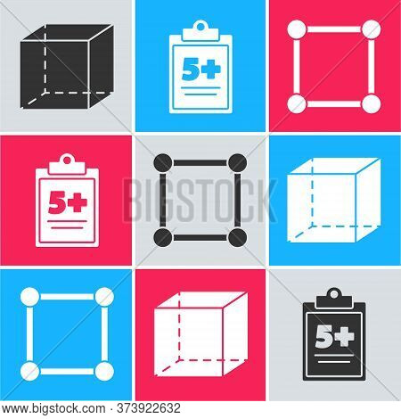 Set Geometric Figure Cube, Test Or Exam Sheet And Geometric Figure Square Icon. Vector
