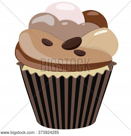 Realistic Cupcake. Sweet Creamy Desserts Muffins With Coffee Beans, Delicious Confectionery And Baki