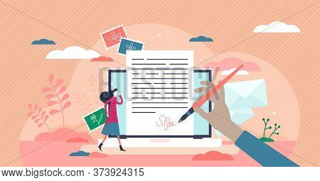 Writing Letter As Online Email Message. Communication Style In Tiny Persons Concept. Typing Document