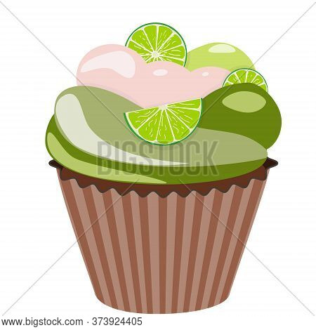Realistic Cupcake. Sweet Creamy Desserts Muffins With Lime, Delicious Confectionery And Baking.