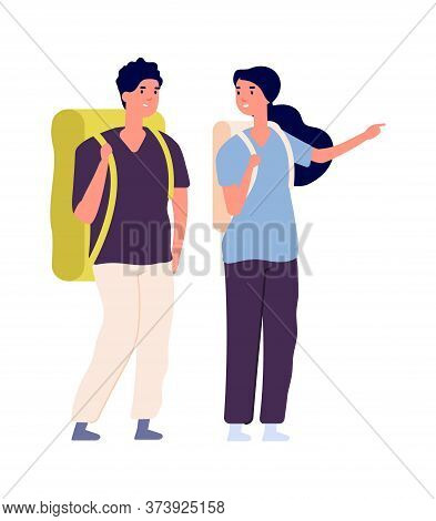 Travellers Couple. Man Woman Travel With Backpacks. Isolated Happy People Find Trip, Tourists Vector