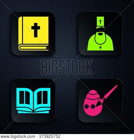 Set Easter Egg And Paint Brush, Holy Bible Book, Holy Bible Book And Priest. Black Square Button. Ve