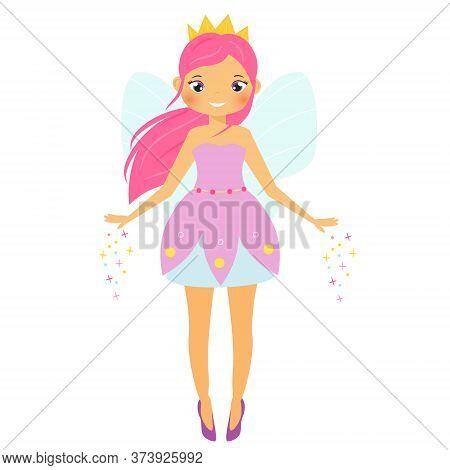 Cute Fairy. Cartoon Fantasy Fairy Spread Magic Dust. Pixie, Elf Girl With Pink Hair