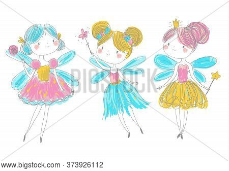 Cute Fairy Friends In Hand Drawn Style. Cartoon Fairy Princess With Magic Wands.