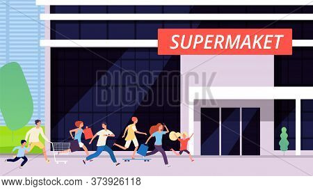 Crowd Run To Supermarket. Sale Discount, Store Building. Cartoon Man Woman Kids Shopping. Excitement