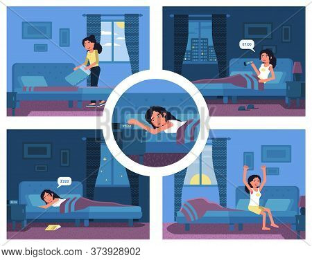 Morning Evening Daily Activities. Sleeping Girl Set. Young Woman Wake Up With Alarm Clock, Get Up, S