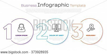 Set Line Handbag, 8 March On Monitore And 8 March On Hand. Business Infographic Template. Vector
