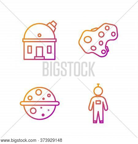 Set Line Astronaut, Planet Venus, Astronomical Observatory And Asteroid. Gradient Color Icons. Vecto