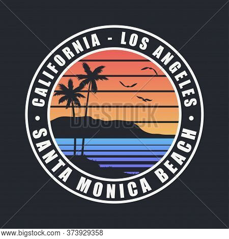 California Santa Monica Beach T-shirt Design. Typography Graphics For Tee Shirt With Palm Trees. Los