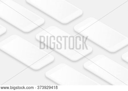 White Smartphones Mockup With Blank Screen. Realistic Cell Phones Frames With Shadow. 3d Isometric S