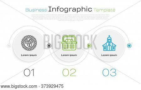 Set Line Easter Egg In A Wicker Nest, Basket With Easter Eggs And Church Building. Business Infograp