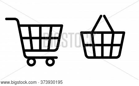 Shopping Cart Line Icon. Online Shopping In Store. Big And Small Bag, Trolley Shopping Cart Business