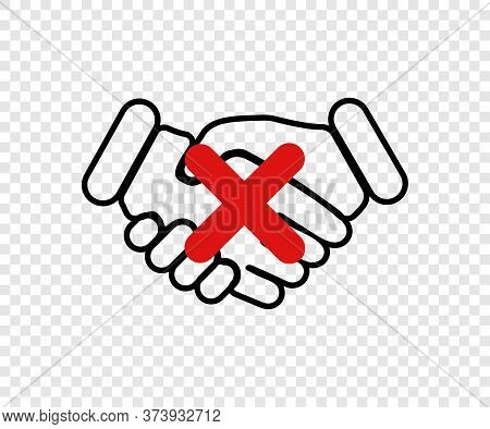 No Handshake. Dont Touch Icon. No Handshake Concept. No Deal. Vector Illustration