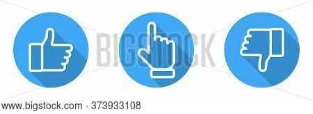 Thumbs Up And Down With Pointing Finger. Like And Dislike Vector Icons, Isolated. Like Or Thumb Up A