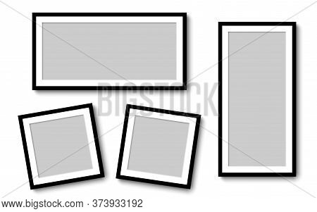 Photo Frames. Collection Photo Frames, Isolated. Template Mockup Photo Frame Different Shapes. White