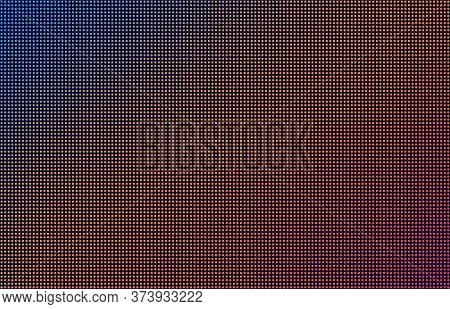 Led Screen Gradient Background, Blue, Orange And Pink Monitor Dots. Close-up Of The Macrotexture Of