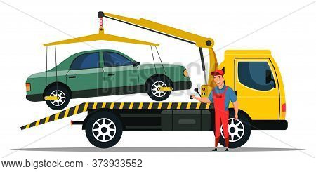 Car Towing Truck Cartoon. Road Side Assistance Service. Breakdown Lorry Emergency Help. Flat Wrecker