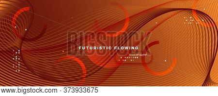 Curve Fluid Flow. Orange Gradient Background. 3d Abstract Lines. Business Brochure. Yellow Fluid Flo