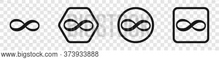 Infinity Icons. Infinity Symbols Collection, Isolated. Infinity Loop Logos Black Color In Flat Desig
