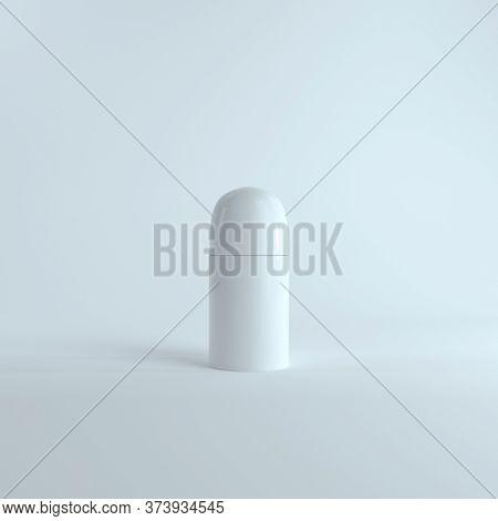 Blank White Opened Plastic Bottle Roll-on Deodorant Mock Up Isolated On Light White Background. Real