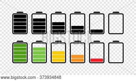 Battery. Battery Vector Icons, Isolated. Charging Charge Indicator Level. Level Battery. Flat Design