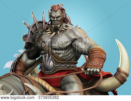 Savage Orc Brute Leader Running Into Battle Wearing Traditional Armor And Equipped With A Flail . Fa