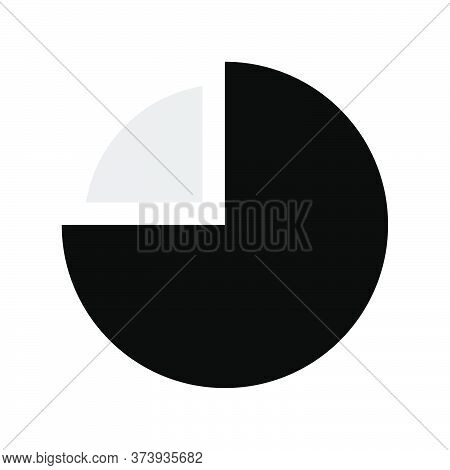 Pie Chart Percentage 75. Pie Graph Diagram, Round Chart Seventy Five. Grayscale Vector Chart Symbol