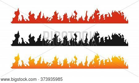 Fire Flames Banners. Fire Vector Posters, Isolated. Fire Flames In Flat Design. Flames Banners Or Po