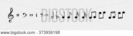Note. Music Notes Vector Icons Collection. Notes In A Row, Isolated On Transparent Background. Vecto