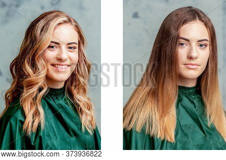Hair Before And After Straightening. Womans Hair Treatment.
