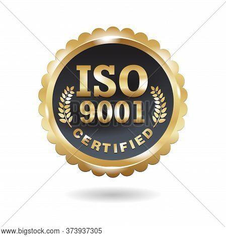 Iso 9001 Conformity To Standards 3d Emblem - Golden Medal Award With International Quality Managemen